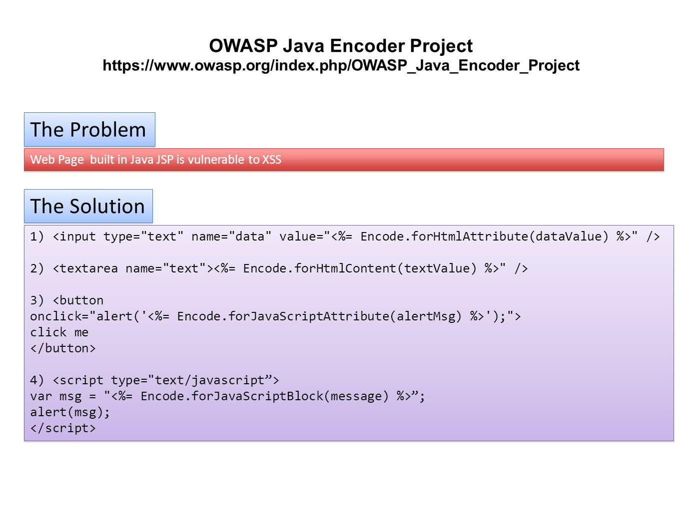 The Problem Web Page built in Java JSP is vulnerable to XSS The Solution 1)