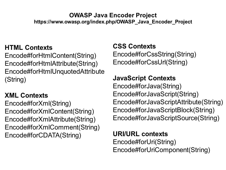 HTML Contexts Encode#forHtmlContent(String) Encode#forHtmlAttribute(String) Encode#forHtmlUnquotedAttribute (String) XML Contexts Encode#forXml(String