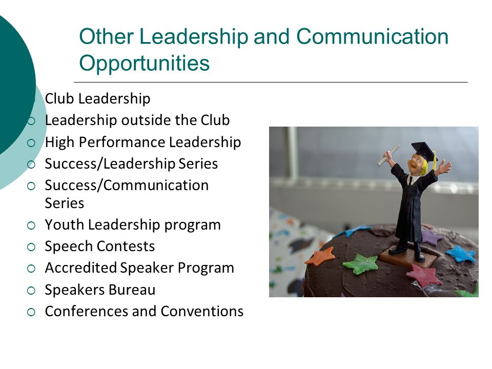 Other Leadership and Communication Opportunities Club Leadership Leadership outside the Club High Performance Leadership Success/Leadership Series Suc