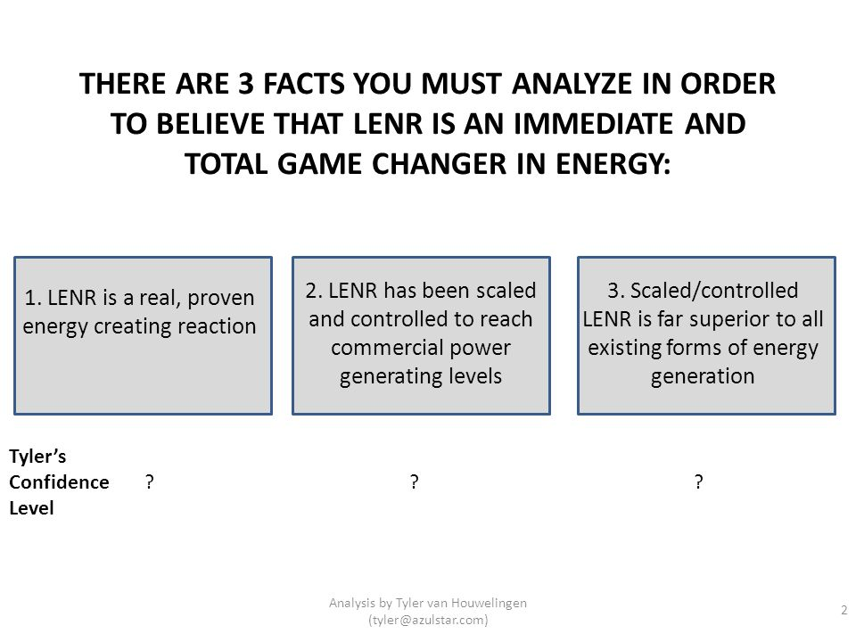 THERE ARE 3 FACTS YOU MUST ANALYZE IN ORDER TO BELIEVE THAT LENR IS AN IMMEDIATE AND TOTAL GAME CHANGER IN ENERGY: 1. LENR is a real, proven energy cr