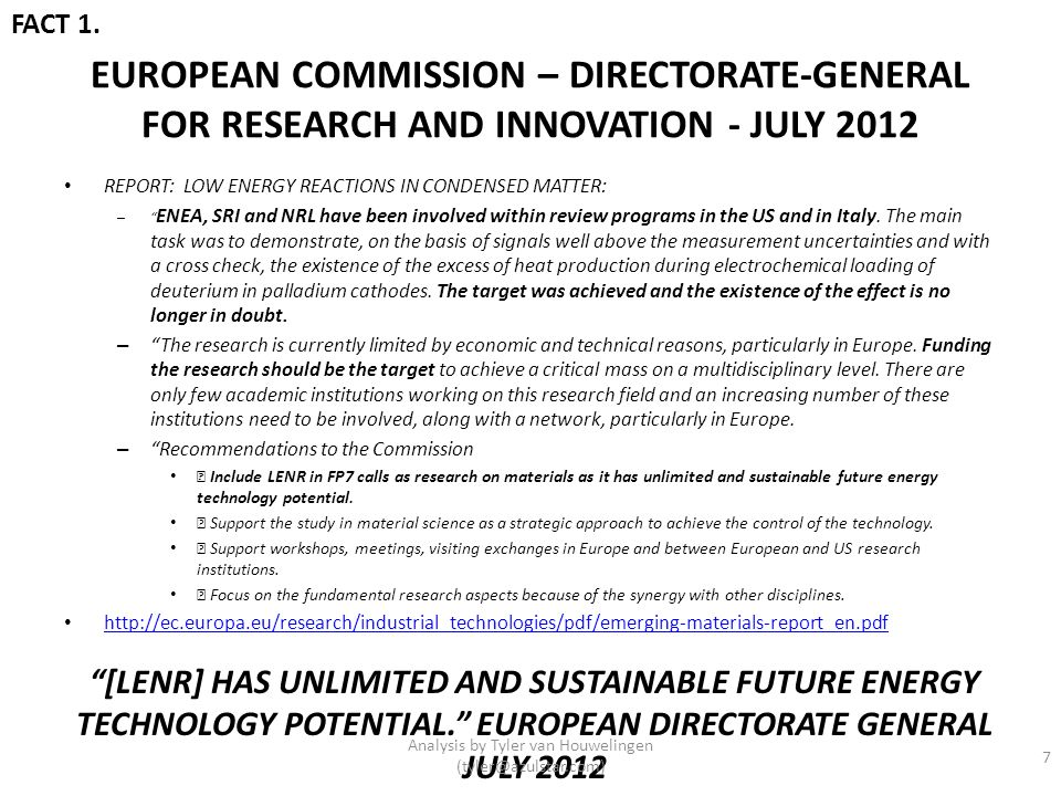 EUROPEAN COMMISSION – DIRECTORATE-GENERAL FOR RESEARCH AND INNOVATION - JULY 2012 REPORT: LOW ENERGY REACTIONS IN CONDENSED MATTER: – ENEA, SRI and NR