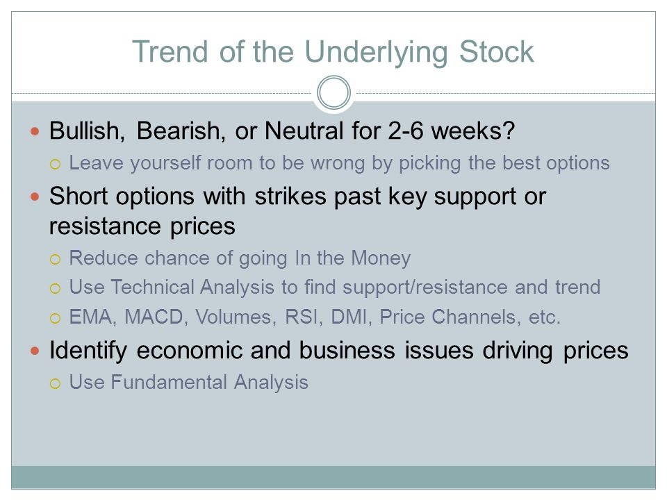Trend of the Underlying Stock Bullish, Bearish, or Neutral for 2-6 weeks.