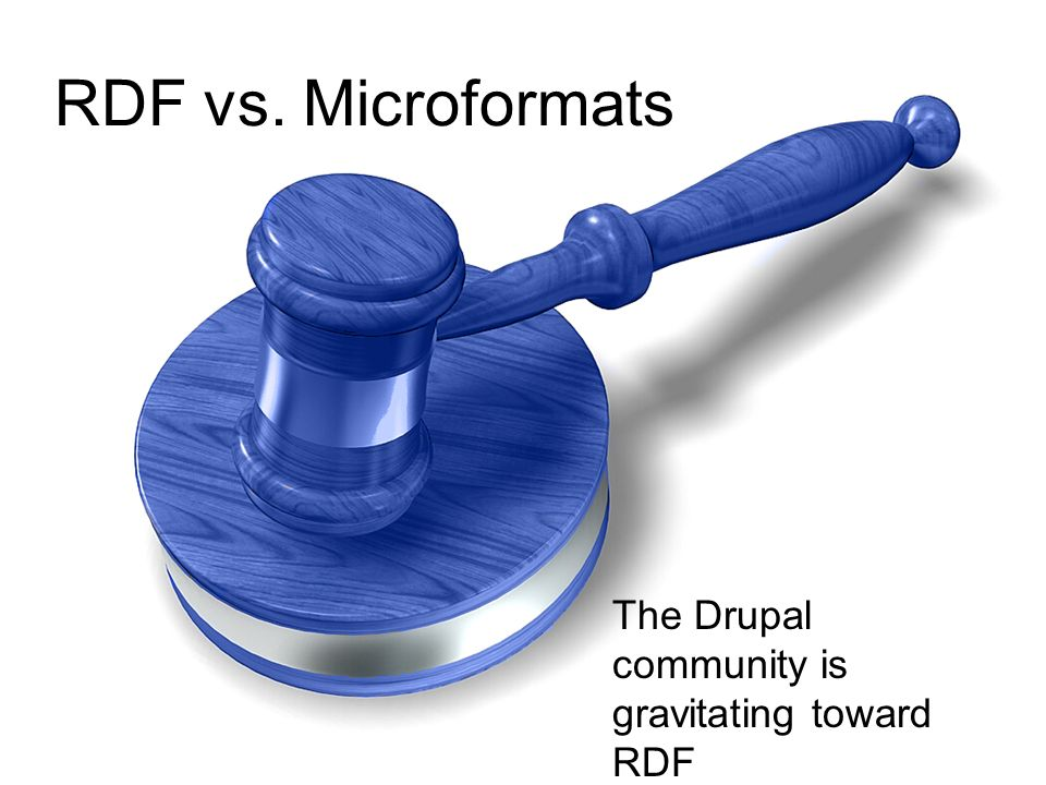 RDF vs. Microformats The Drupal community is gravitating toward RDF