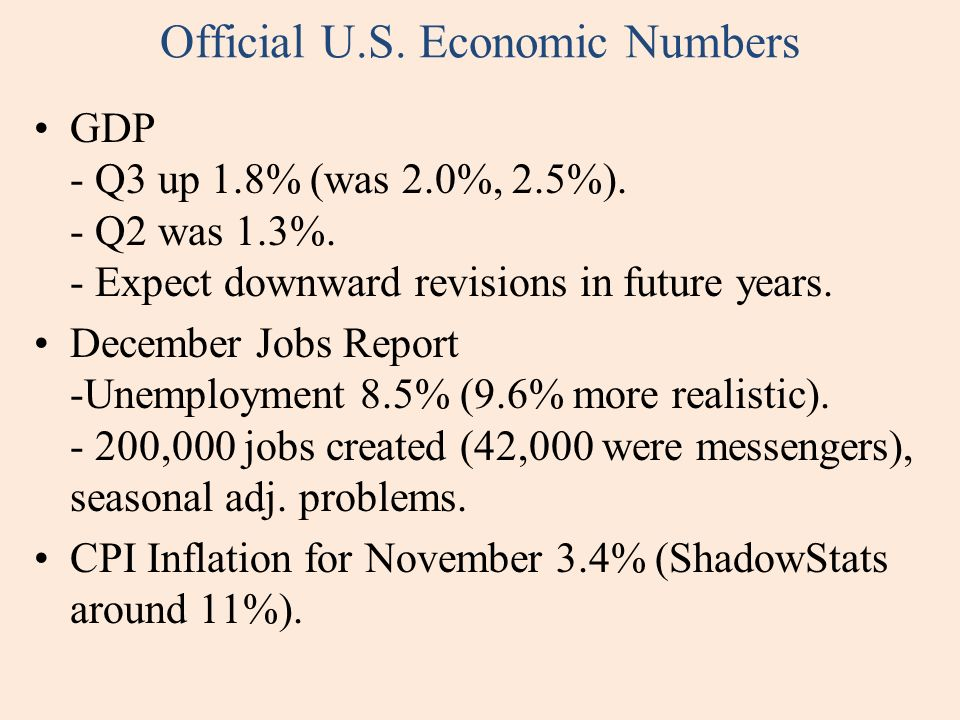 Official U.S. Economic Numbers GDP - Q3 up 1.8% (was 2.0%, 2.5%).