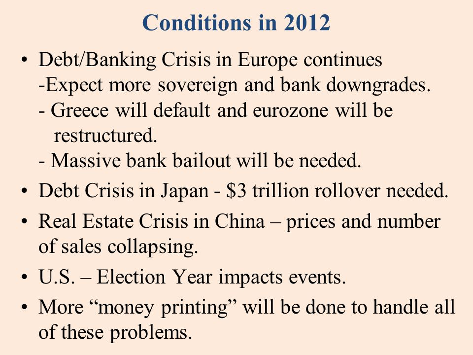 Conditions in 2012 Debt/Banking Crisis in Europe continues -Expect more sovereign and bank downgrades.