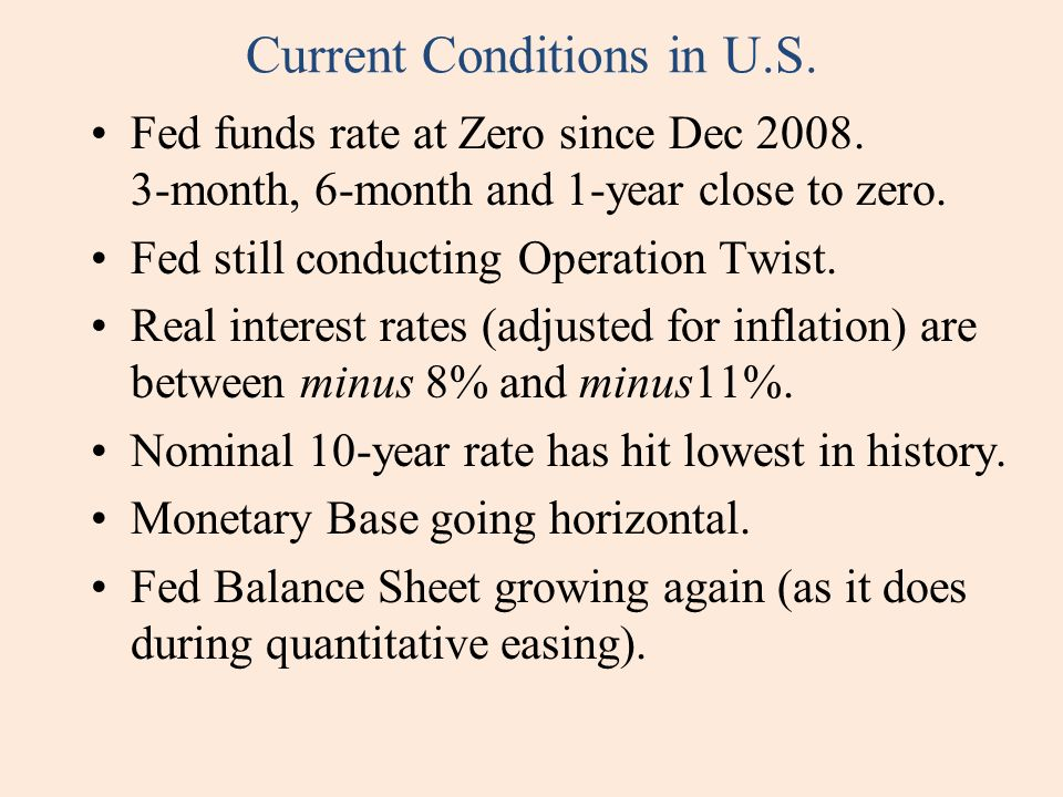 Current Conditions in U.S. Fed funds rate at Zero since Dec 2008.