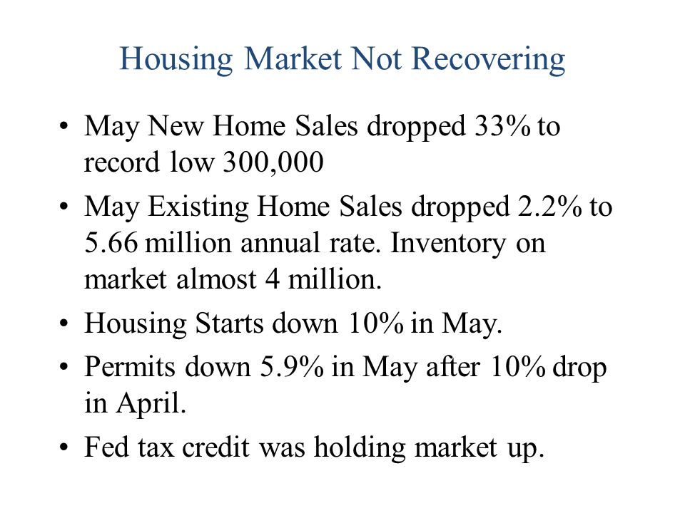 Housing Market Not Recovering May New Home Sales dropped 33% to record low 300,000 May Existing Home Sales dropped 2.2% to 5.66 million annual rate.