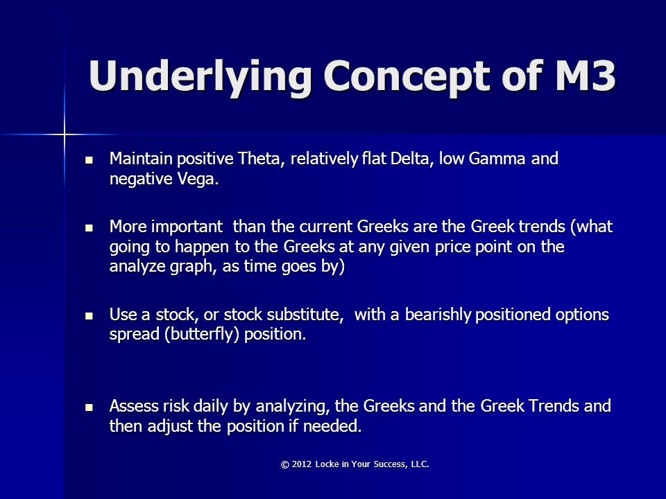 Underlying Concept of M3 Maintain positive Theta, relatively flat Delta, low Gamma and negative Vega. Maintain positive Theta, relatively flat Delta,