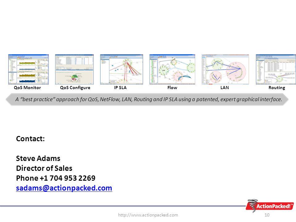 10http://www.actionpacked.com Contact: Steve Adams Director of Sales Phone +1 704 953 2269 sadams@actionpacked.com QoS MonitorQoS ConfigureIP SLAFlowL