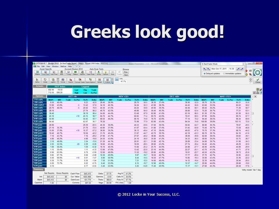 Greeks look good! © 2012 Locke in Your Success, LLC.