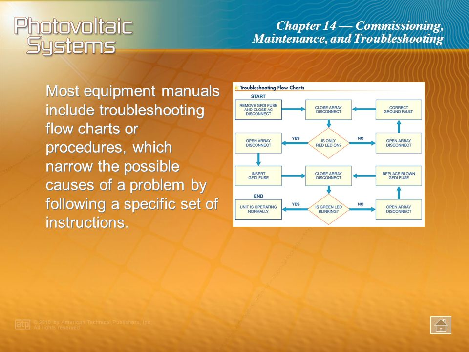 Chapter 14 Commissioning, Maintenance, and Troubleshooting PV subsystems are divided by the components involved in energy production, storage, process