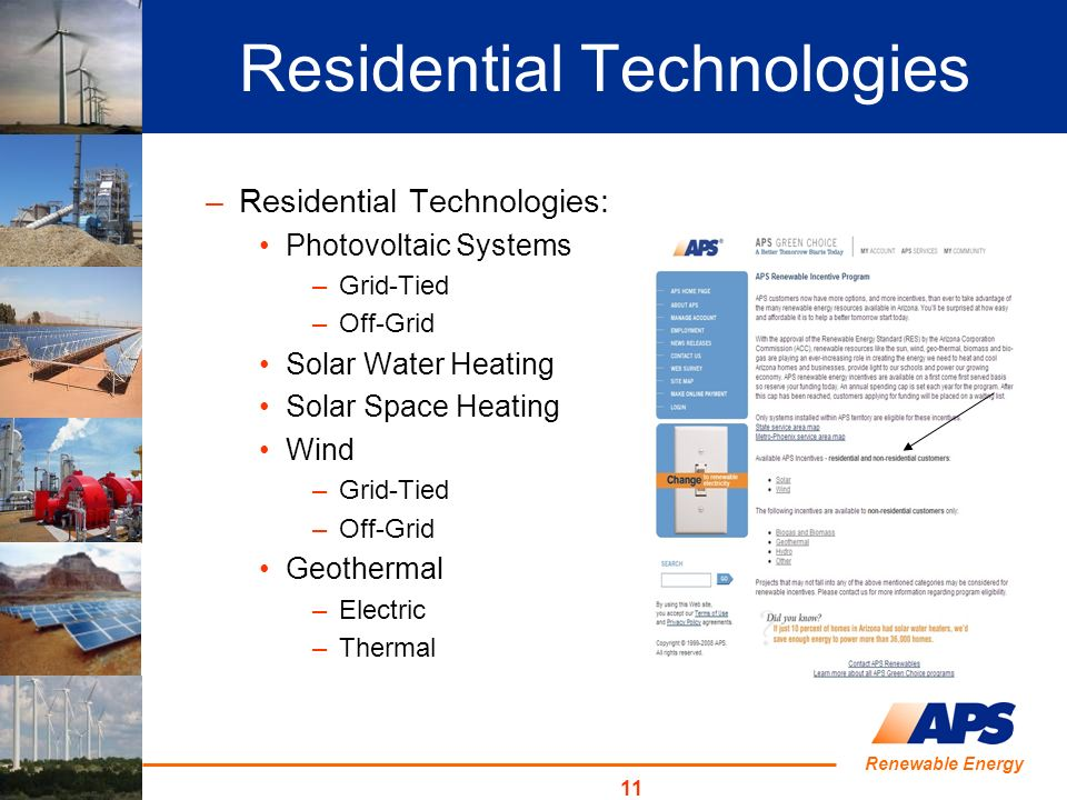 Renewable Energy 11 Residential Technologies –Residential Technologies: Photovoltaic Systems –Grid-Tied –Off-Grid Solar Water Heating Solar Space Heating Wind –Grid-Tied –Off-Grid Geothermal –Electric –Thermal