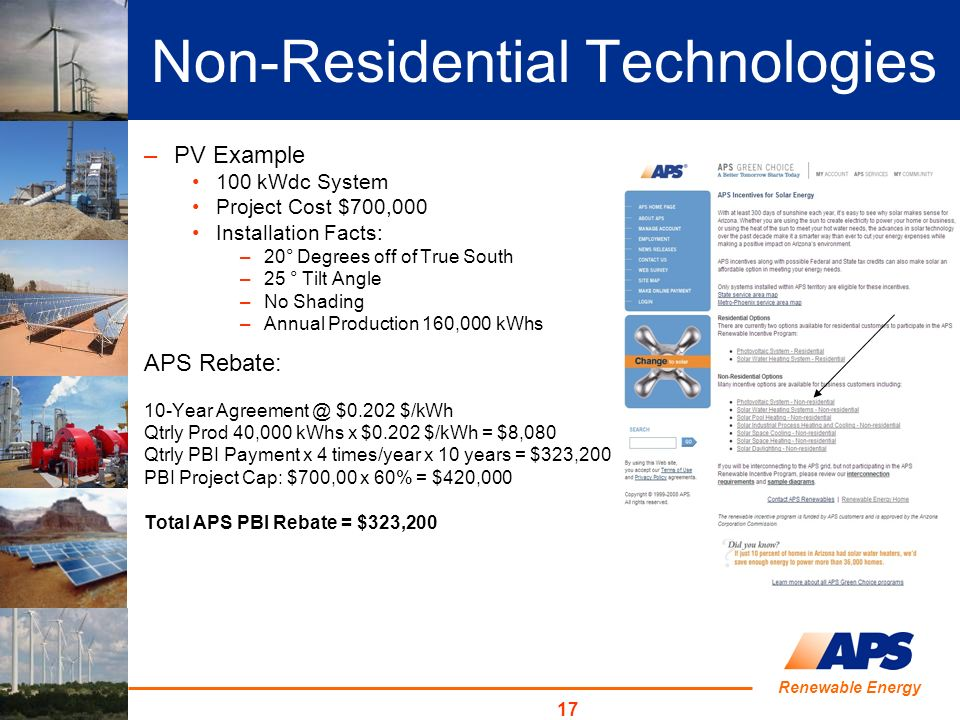 17 –PV Example 100 kWdc System Project Cost $700,000 Installation Facts: –20° Degrees off of True South –25 ° Tilt Angle –No Shading –Annual Production 160,000 kWhs APS Rebate: 10-Year Agreement @ $0.202 $/kWh Qtrly Prod 40,000 kWhs x $0.202 $/kWh = $8,080 Qtrly PBI Payment x 4 times/year x 10 years = $323,200 PBI Project Cap: $700,00 x 60% = $420,000 Total APS PBI Rebate = $323,200 Non-Residential Technologies