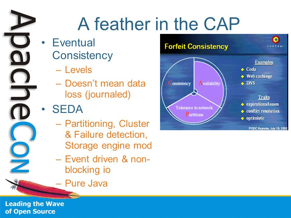 A feather in the CAP Eventual Consistency –Levels –Doesnt mean data loss (journaled) SEDA –Partitioning, Cluster & Failure detection, Storage engine m