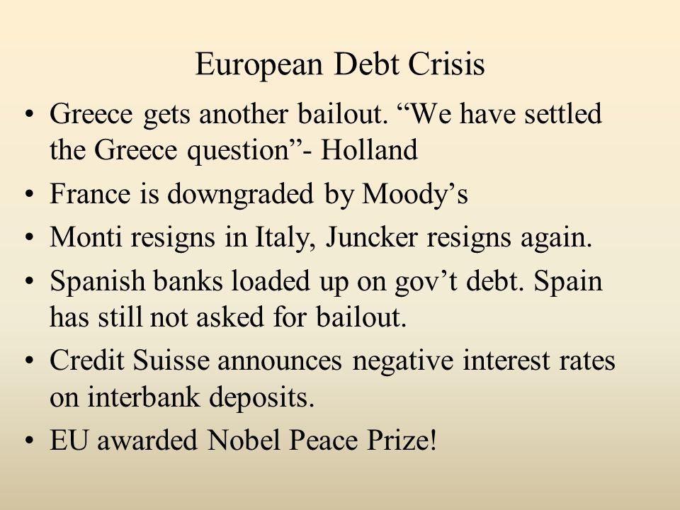 European Debt Crisis Greece gets another bailout. We have settled the Greece question- Holland France is downgraded by Moodys Monti resigns in Italy,