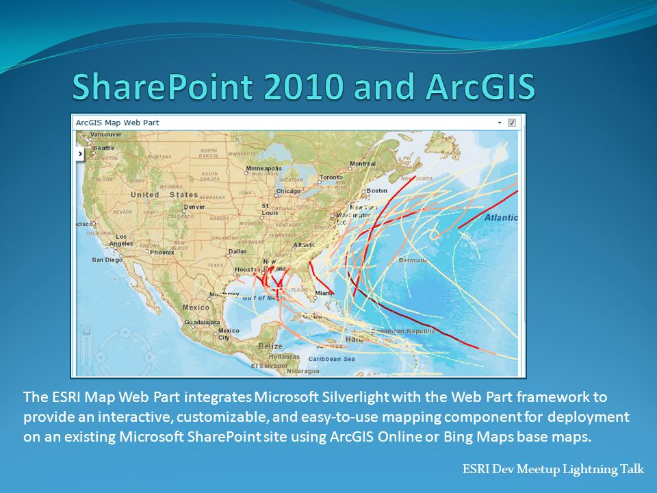 The ESRI Map Web Part integrates Microsoft Silverlight with the Web Part framework to provide an interactive, customizable, and easy-to-use mapping co