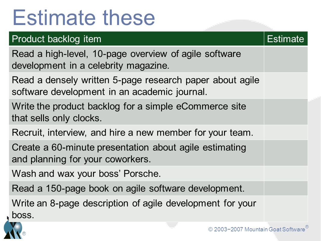 © 20032007 Mountain Goat Software ® ® Estimate these Product backlog itemEstimate Read a high-level, 10-page overview of agile software development in