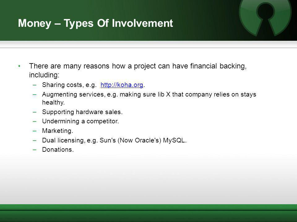 Money – Types Of Involvement There are many reasons how a project can have financial backing, including: –Sharing costs, e.g. http://koha.org.http://k
