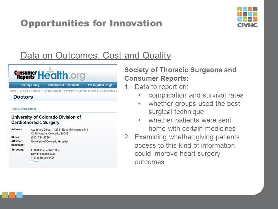Opportunities for Innovation Data on Outcomes, Cost and Quality Society of Thoracic Surgeons and Consumer Reports: 1.Data to report on: complication and survival rates whether groups used the best surgical technique whether patients were sent home with certain medicines 2.Examining whether giving patients access to this kind of information could improve heart surgery outcomes