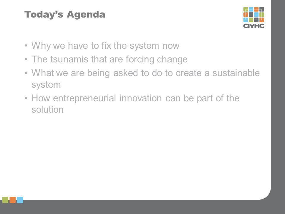 Todays Agenda Why we have to fix the system now The tsunamis that are forcing change What we are being asked to do to create a sustainable system How entrepreneurial innovation can be part of the solution