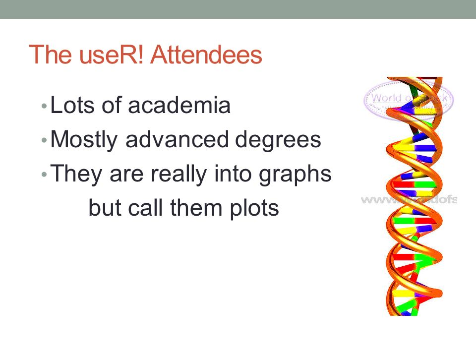 The useR! Attendees Lots of academia Mostly advanced degrees They are really into graphs but call them plots