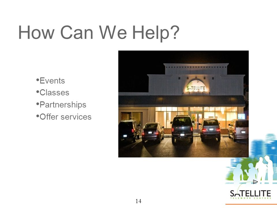 14 How Can We Help Events Classes Partnerships Offer services 14