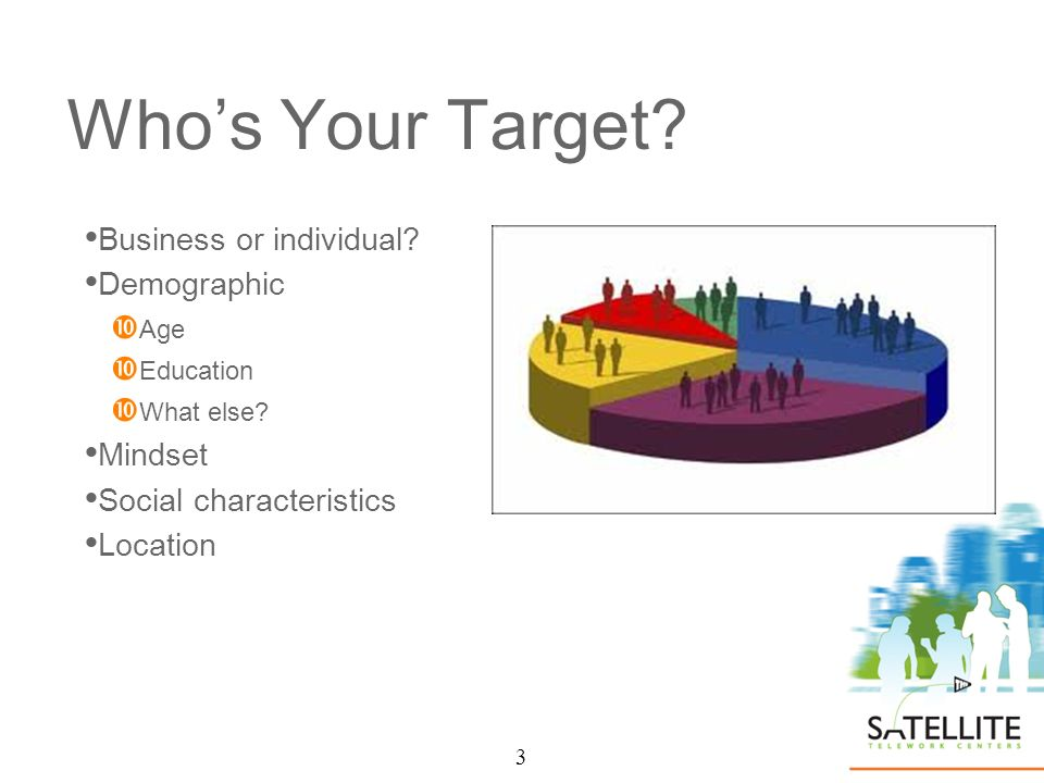 3 Whos Your Target. Business or individual. Demographic Age Education What else.