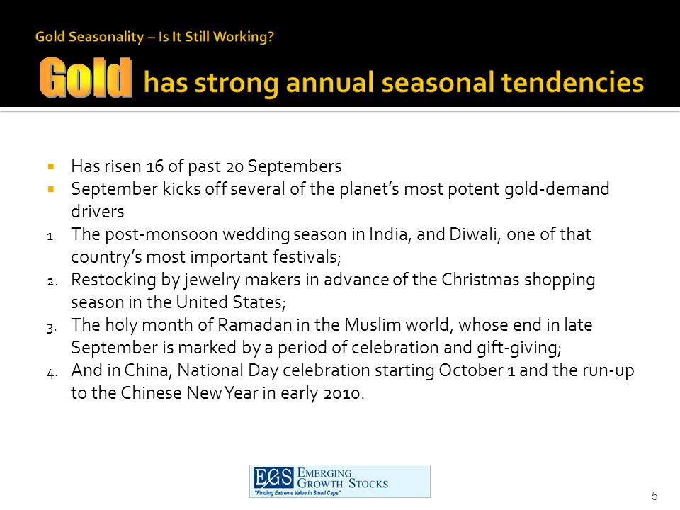 Has risen 16 of past 20 Septembers September kicks off several of the planets most potent gold-demand drivers 1.