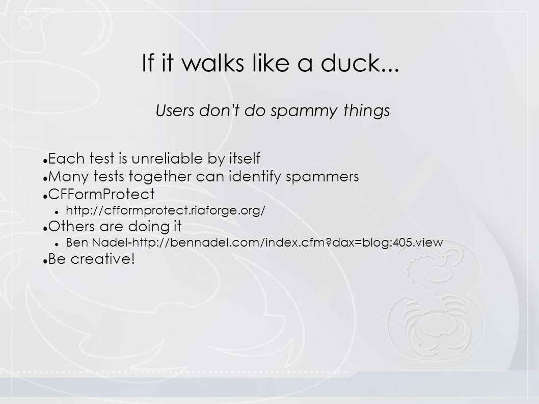 If it walks like a duck...
