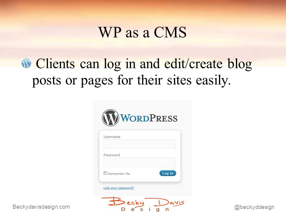 WP as a CMS Clients can log in and edit/create blog posts or pages for their sites easily.