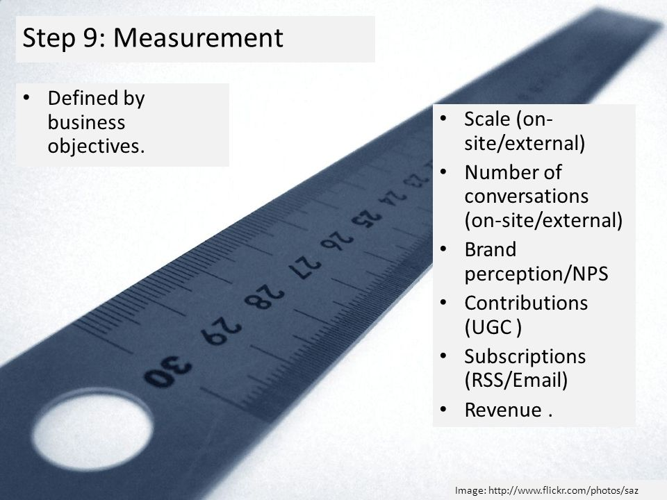 Step 9: Measurement Defined by business objectives.