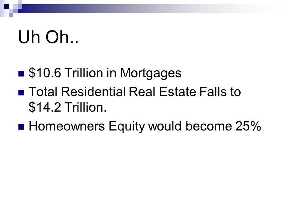 Uh Oh.. $10.6 Trillion in Mortgages Total Residential Real Estate Falls to $14.2 Trillion. Homeowners Equity would become 25%