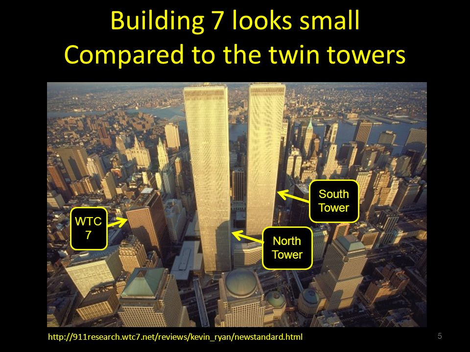 Building 7 looks small Compared to the twin towers 5 http://911research.wtc7.net/reviews/kevin_ryan/newstandard.html North Tower South Tower WTC 7