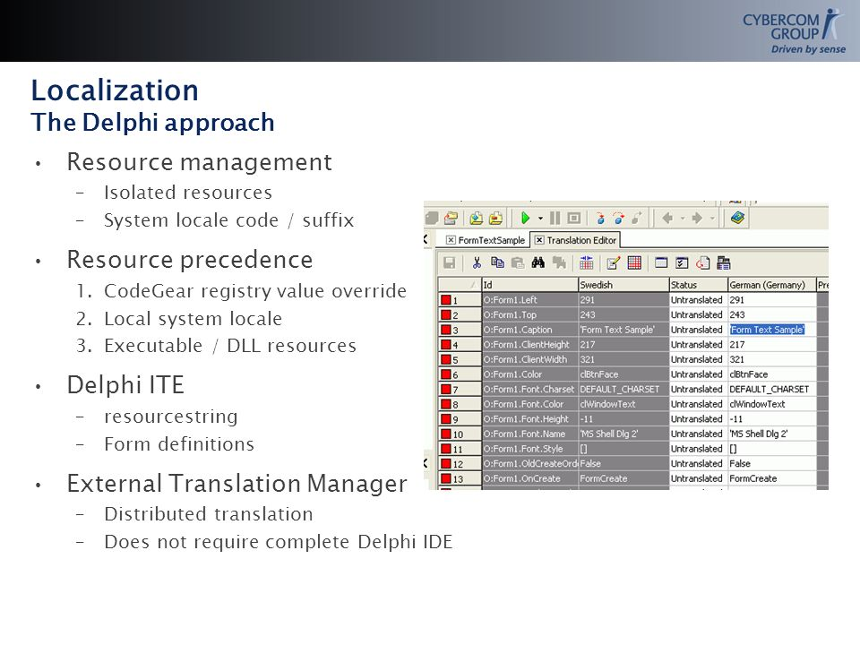 Localization The Delphi approach Resource management –Isolated resources –System locale code / suffix Resource precedence 1.CodeGear registry value override 2.Local system locale 3.Executable / DLL resources Delphi ITE –resourcestring –Form definitions External Translation Manager –Distributed translation –Does not require complete Delphi IDE