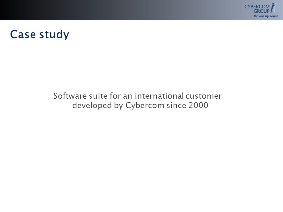 Case study Software suite for an international customer developed by Cybercom since 2000