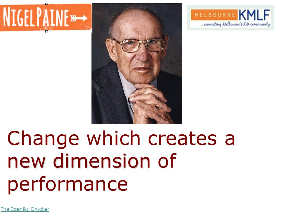 newdimension Change which creates a new dimension of performance The Essential Drucker