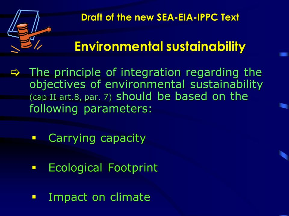 Draft of the new SEA-EIA-IPPC Text Environmental sustainability The principle of integration regarding the objectives of environmental sustainability (cap II art.8, par.