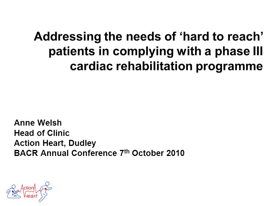 Anne Welsh Head of Clinic Action Heart, Dudley BACR Annual Conference 7 th October 2010