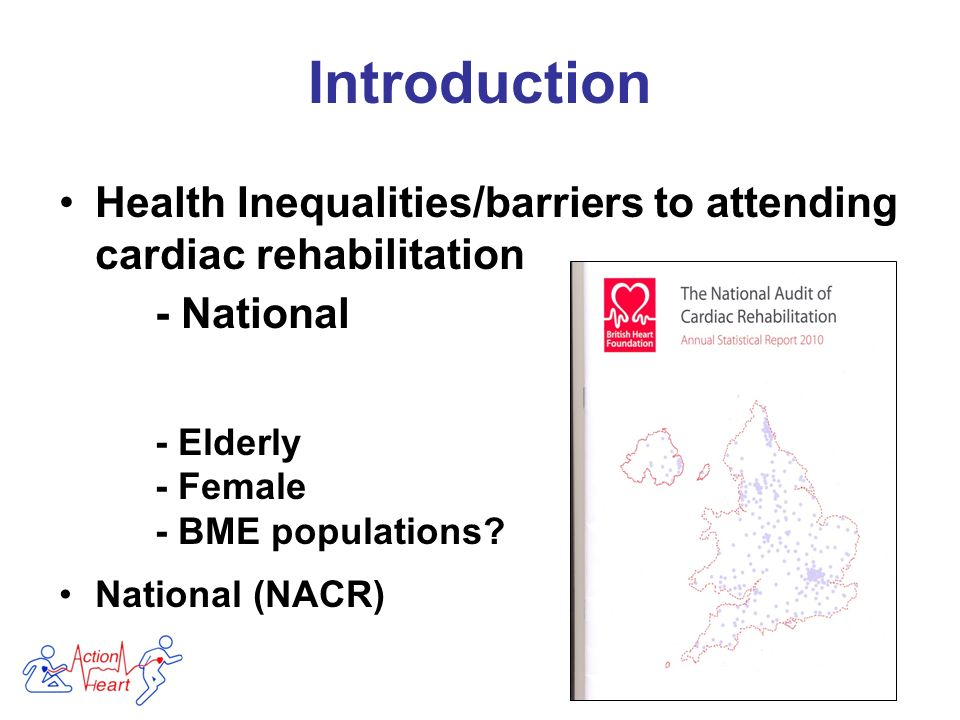 Introduction Health Inequalities/barriers to attending cardiac rehabilitation - National - Elderly - Female - BME populations.