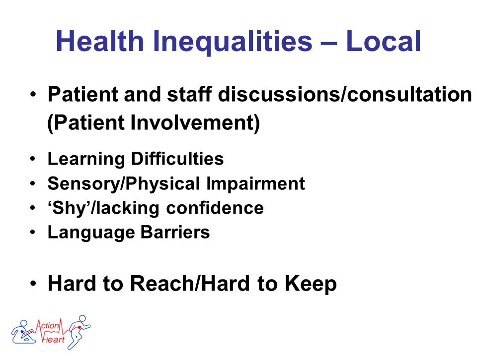 Patient and staff discussions/consultation (Patient Involvement) Learning Difficulties Sensory/Physical Impairment Shy/lacking confidence Language Barriers Hard to Reach/Hard to Keep