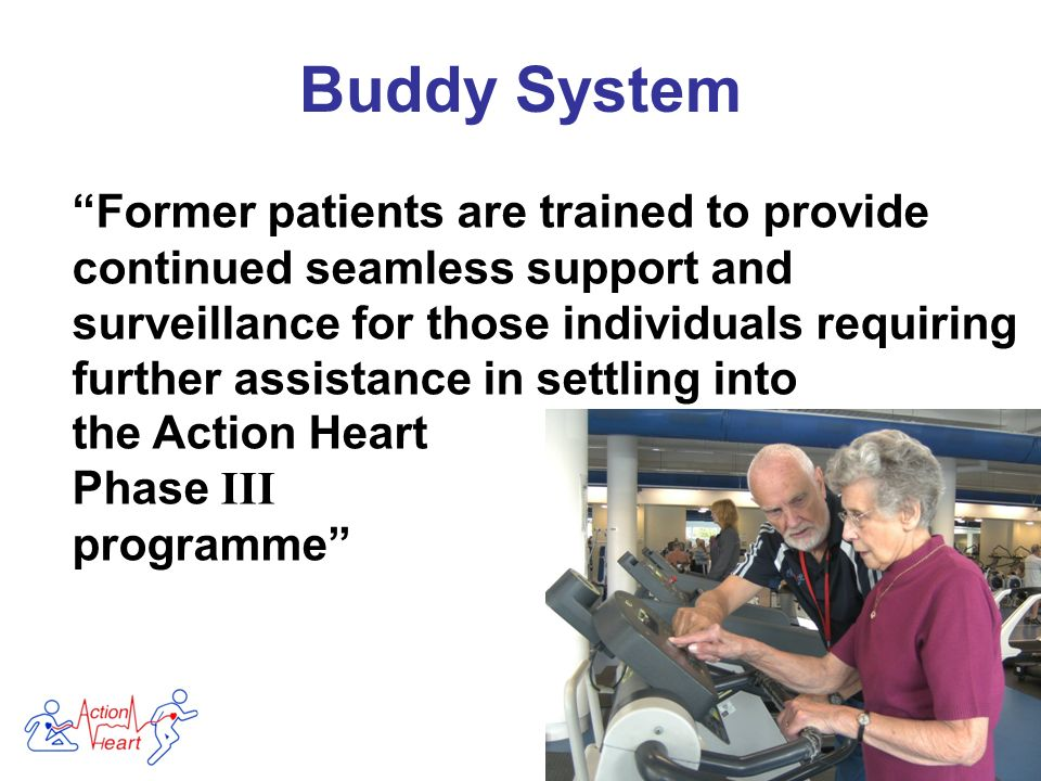 Former patients are trained to provide continued seamless support and surveillance for those individuals requiring further assistance in settling into Buddy System the Action Heart Phase III programme