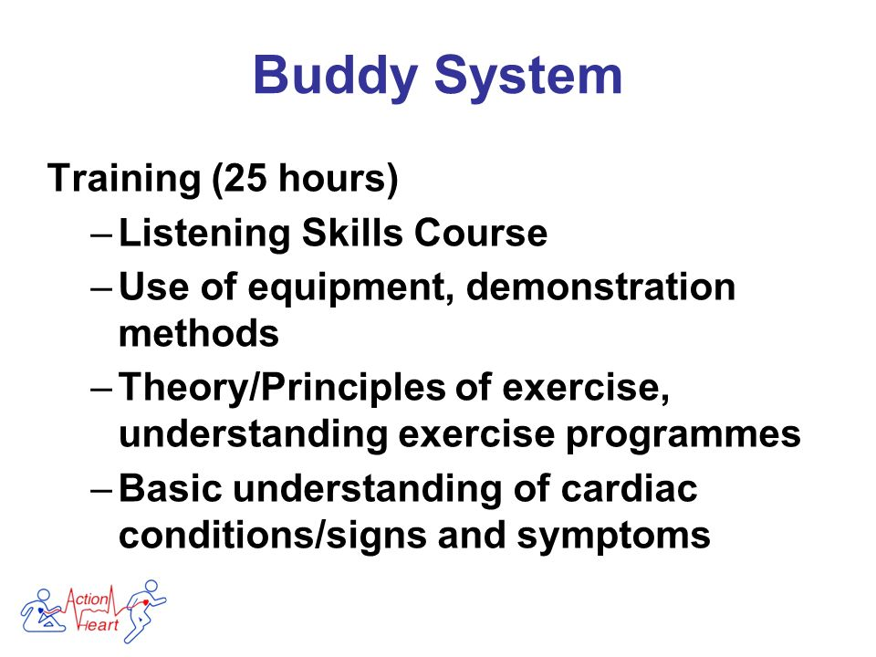 Training (25 hours) –Listening Skills Course –Use of equipment, demonstration methods –Theory/Principles of exercise, understanding exercise programmes –Basic understanding of cardiac conditions/signs and symptoms Buddy System