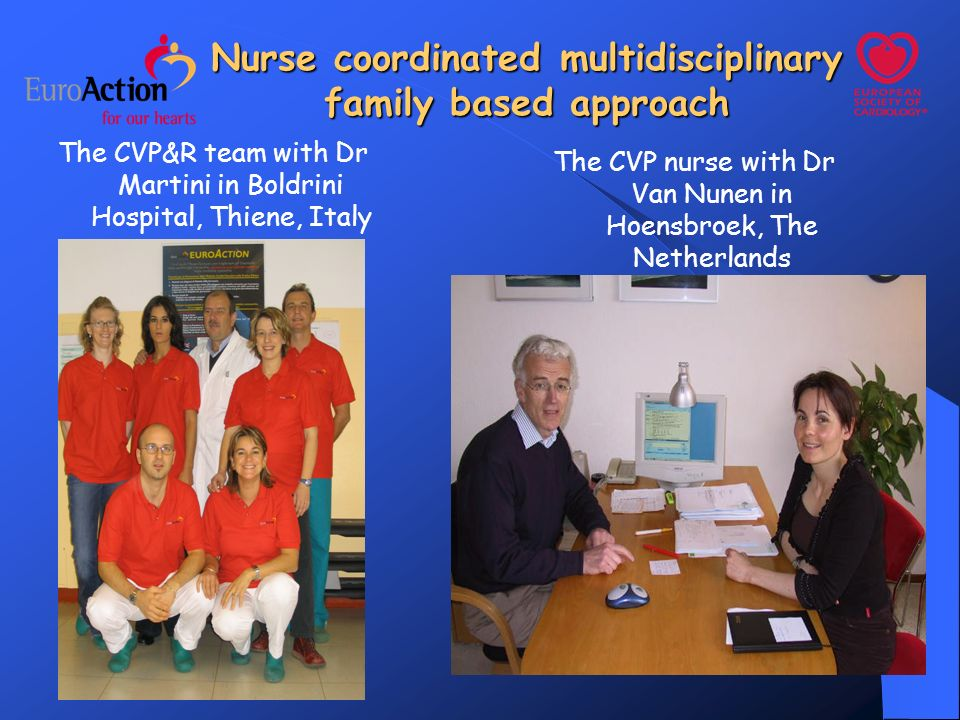 Nurse coordinated multidisciplinary family based approach The CVP&R team with Dr Martini in Boldrini Hospital, Thiene, Italy The CVP nurse with Dr Van