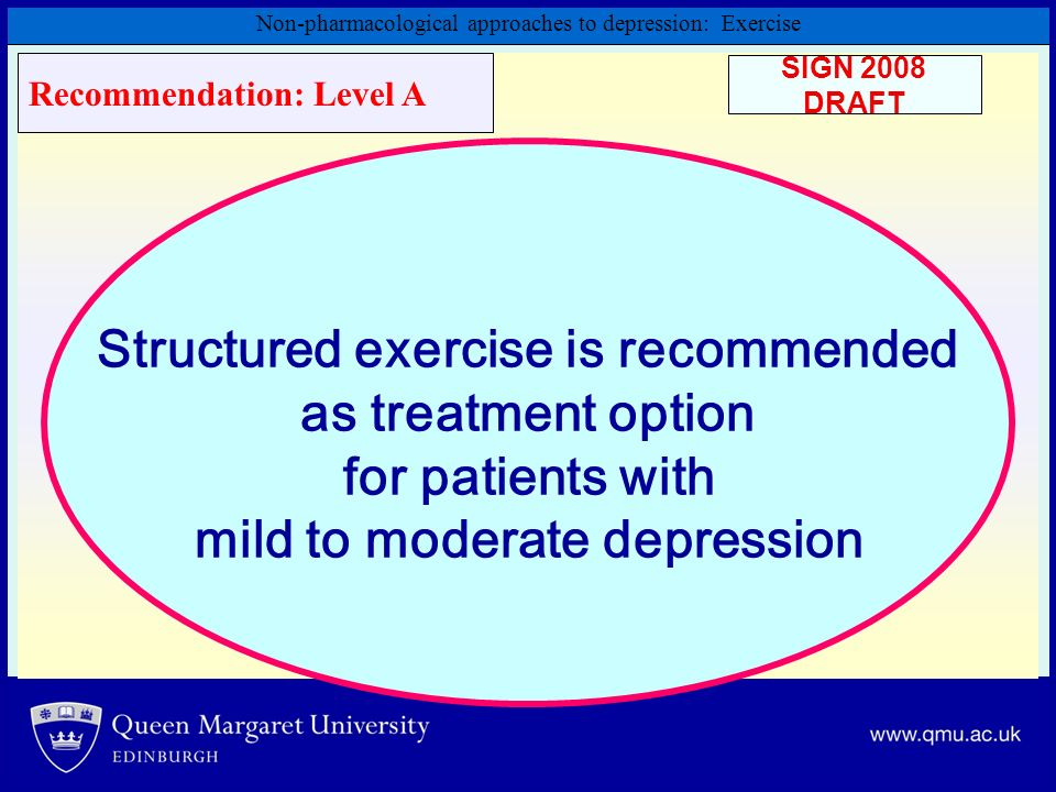 Non-pharmacological approaches to depression: Exercise Structured exercise is recommended as treatment option for patients with mild to moderate depre