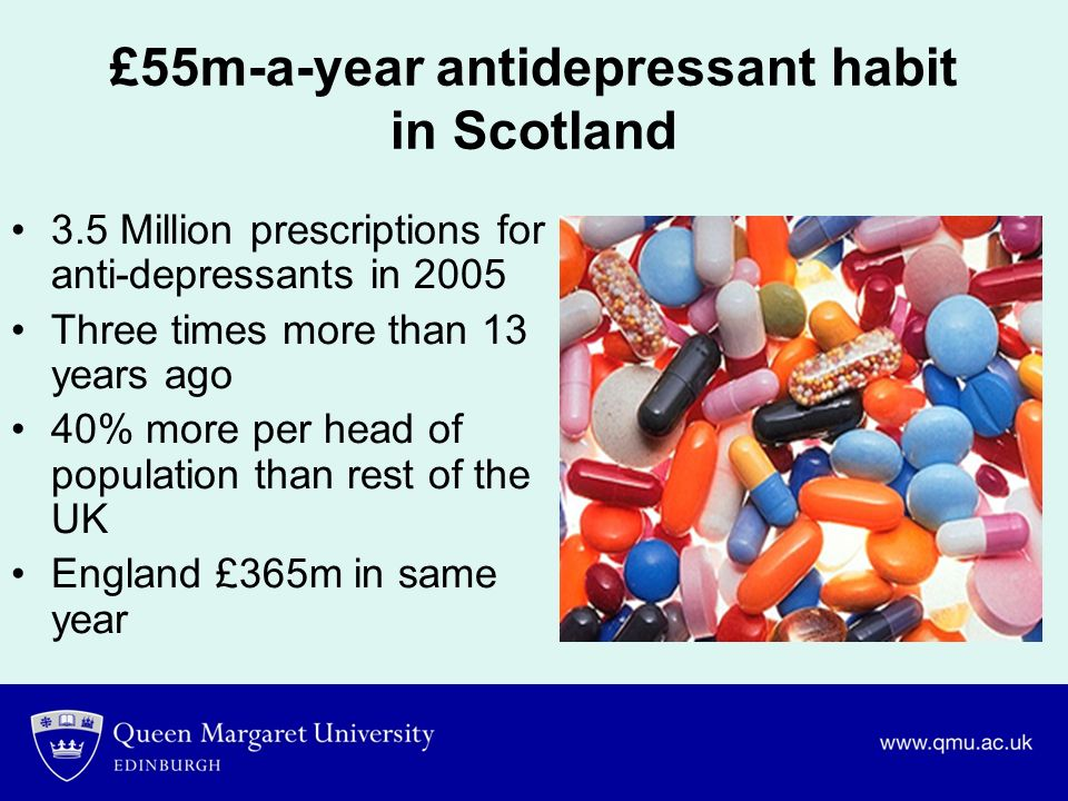 £55m-a-year antidepressant habit in Scotland 3.5 Million prescriptions for anti-depressants in 2005 Three times more than 13 years ago 40% more per he