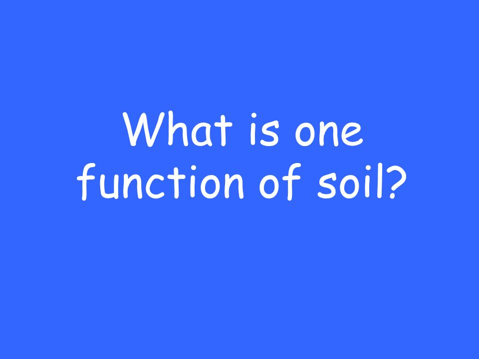 What is one function of soil?