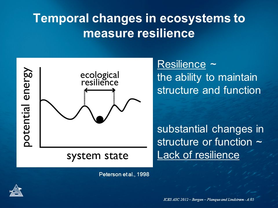 Temporal changes in ecosystems to measure resilience Resilience ~ the ability to maintain structure and function substantial changes in structure or function ~ Lack of resilience Peterson et al., 1998