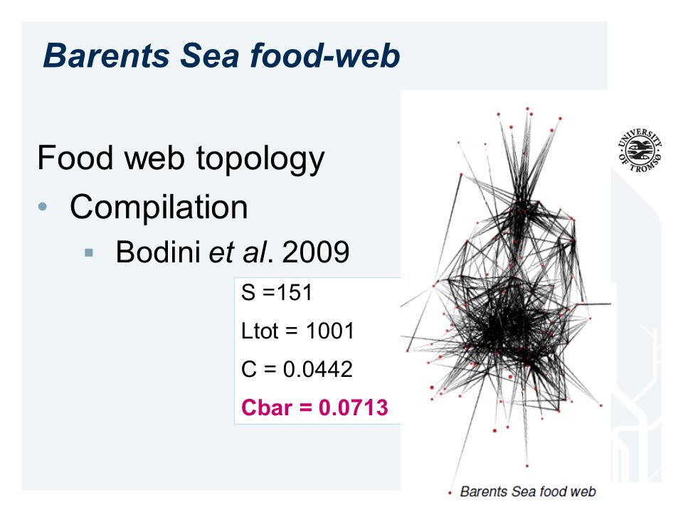 Food web topology Compilation Bodini et al. 2009 Barents Sea food-web S =151 Ltot = 1001 C = 0.0442 Cbar = 0.0713