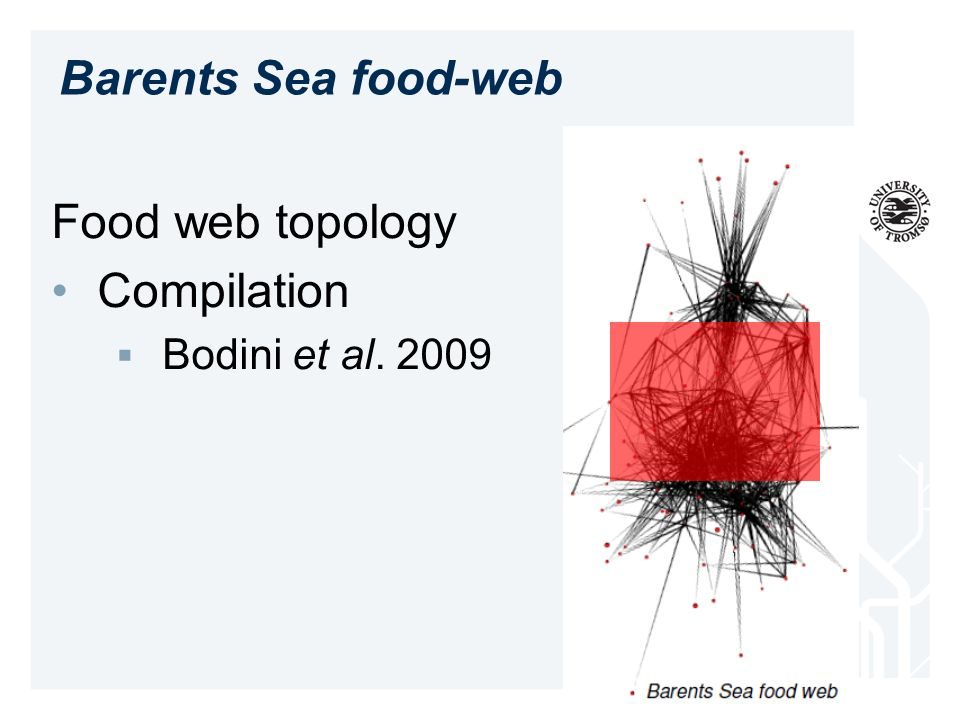 Food web topology Compilation Bodini et al. 2009 Barents Sea food-web