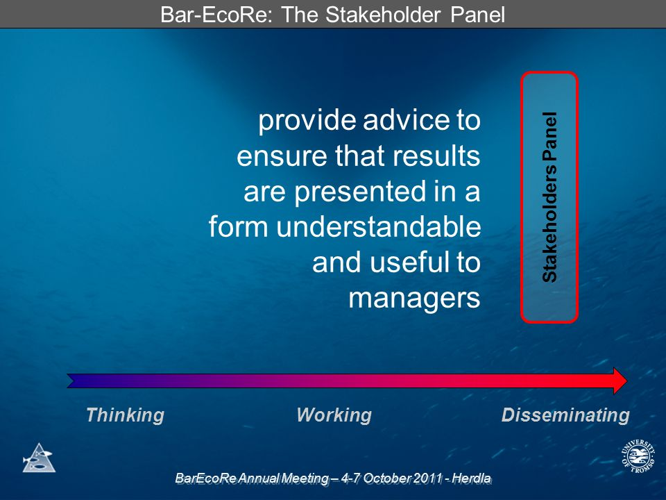 BarEcoRe Annual Meeting – 4-7 October Herdla Bar-EcoRe: The Stakeholder Panel Stakeholders Panel ThinkingWorkingDisseminating provide advice to ensure that results are presented in a form understandable and useful to managers